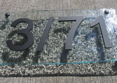 3 - 71 400 x 200 Clear slumped acrylic Arial numbers A