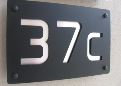 37c black acrylic with alloy text