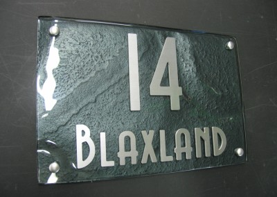 Blaxland 400 x 200 Mint Green with Brushed alloy text A