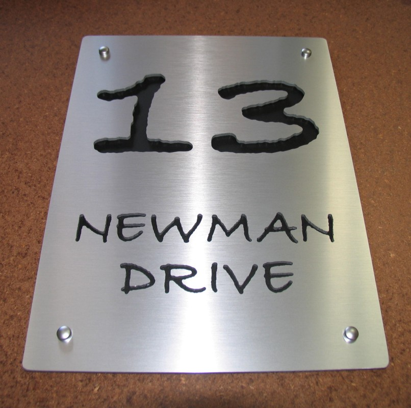 Brushed Aluminium plate with Matt Black Acrylic text highlight