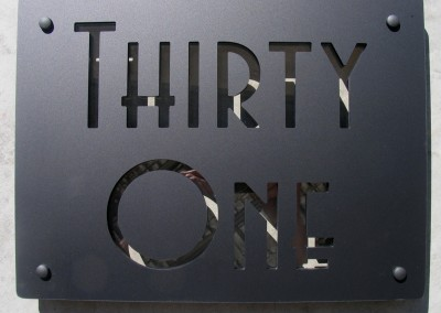 Thirty One Black 400 x 300 Avenida font, clear acrylic highlight