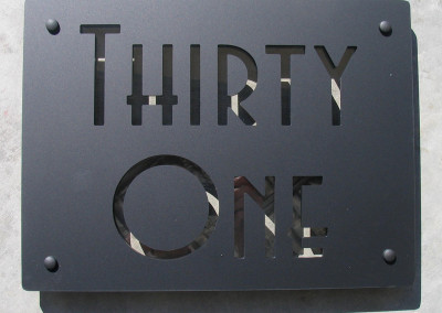 Thirty One  Matt Black 400 x 300 Avenida font, clear acrylic highlight