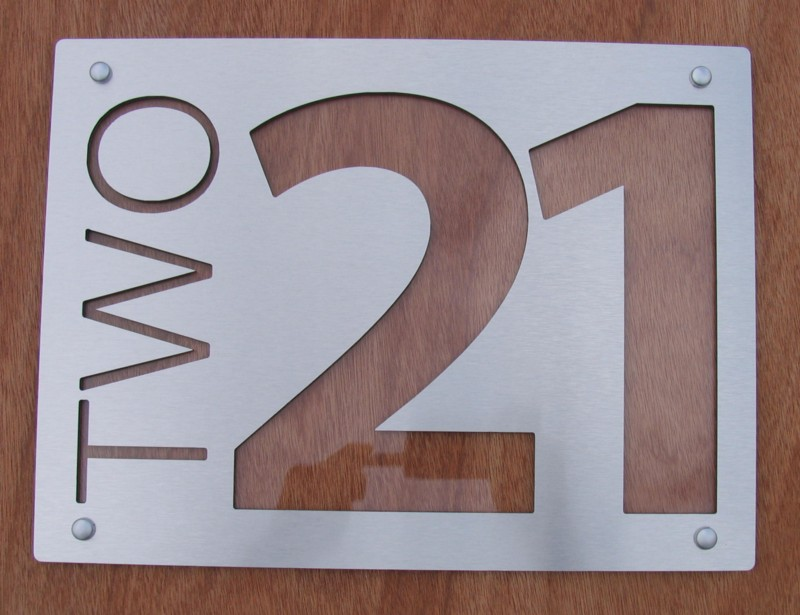 Brushed Aluminium plate with Clear Acrylic text highlight