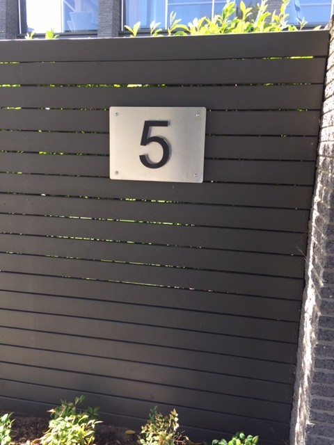 3D house number on Brushed Aluminium Plate