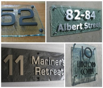 Glass Look House Number Plates