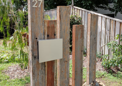 Mountain Landscape Letterbox on recycled sleepers