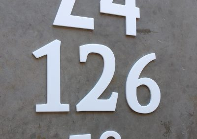 Satin White house numbers, different sizes, different fonts