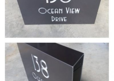 Custom Mountain Letterbox with text cut through and highlighted with Mirror Alloy2